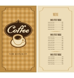 menu with cup of coffee vector image vector image