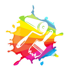 roller and brush painting vector image vector image