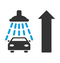 Car shower ahead direction flat vector