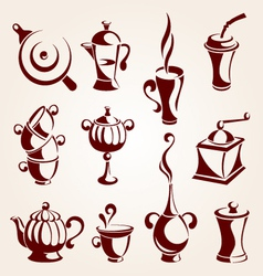 coffee and tea elements set vector image vector image