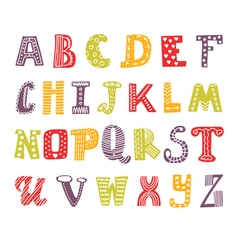 Cute hand drawing alphabet Funny font Hand drawn vector image vector image