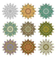 set mandala different color 44 vector image