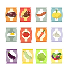 Set of packs of chips Packaging with different vector image