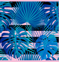 tropical seamless pattern with exotic palm leaves vector image