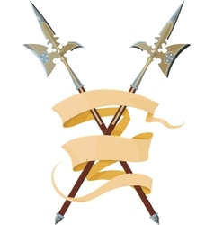 two crossed halberds with banner vector image