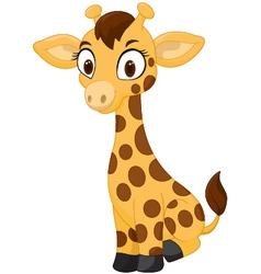 Cartoon baby giraffe sitting vector image vector image