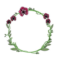 drawing floral wreath flowers decoration vector image vector image