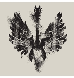 Electric guitar and skull of goat and wings vector
