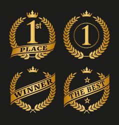 golden laurel wreath set vector image