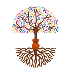 guitar tree live music nature concept vector image
