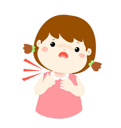 sick girl sore throat cartoon vector image