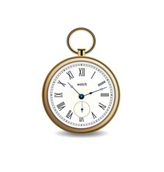 vintage gold watch on white background vector image