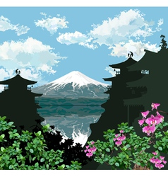 Asian pagoda against the backdrop of a big vector image vector image