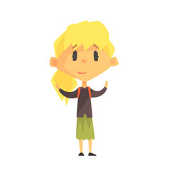 calm blond girl with ponytail primary school kid vector image