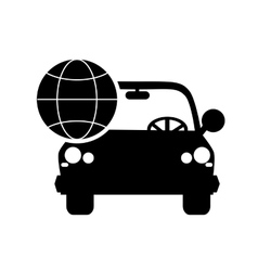 car and earth globe diagram icon vector image