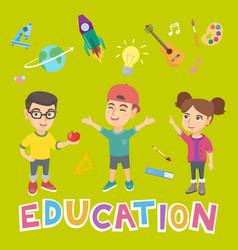 caucasian school children and word education vector image vector image