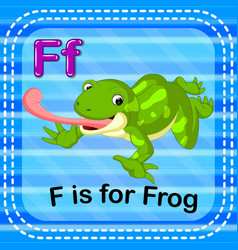 flashcard letter f is for frog vector image