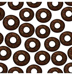 Pattern of chocolate donuts with sprinkles vector image vector image