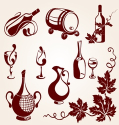 set of vine elements vector image vector image