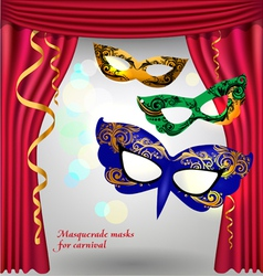 Theater curtains and masks vector image vector image