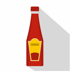traditional tomato ketchup bottle icon flat style vector image vector image