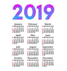 2019 calendar isolated on a white background vector image
