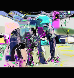 abstract memphis digital painting indian vector image