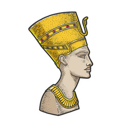 ancient egyptian nefertiti pharaoh sketch vector image