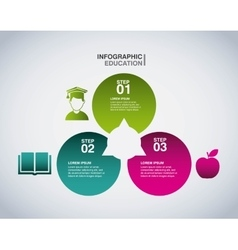 Apple student and book icon Infographic education vector