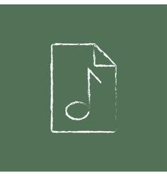 Audio file icon drawn in chalk vector