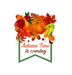 Autumn harvest pumpkin leaf poster vector