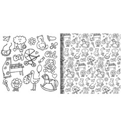 Baby hand drawn objects set and seamless pattern vector
