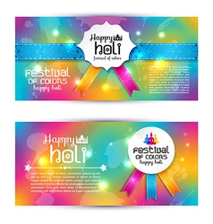 Banner set happy holi beautiful Indian festival vector image