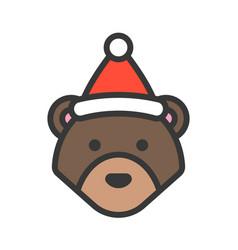 bear wearing santa hat outline icon editable vector image