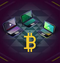 Bitcoin group of three laptops on sri yantra vector