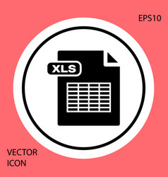 Black xls file document download xls button icon vector