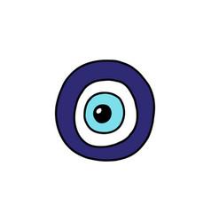 Blue eye fatima doodle icon - hamsa amulet vector