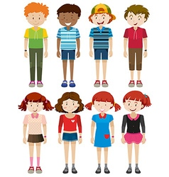 Boys and girls smiling vector image