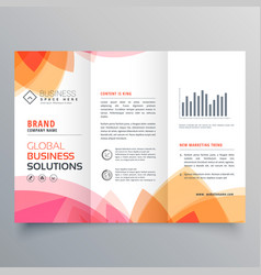 Business trifold brochure template with soft pink vector