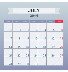Calendar to schedule monthly July 2014 vector image