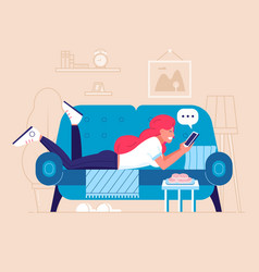 chatting young woman lying on sofa vector image
