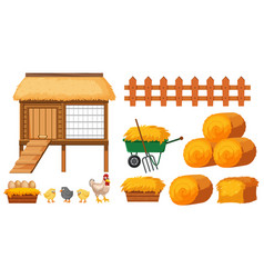 Chicken coop and hays on white background vector