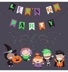 Children trick or treating in Halloween costume vector