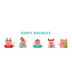 Collection of cute winter pigs new 2019 year vector