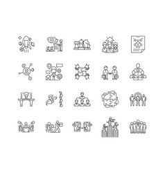 Corporate management line icons signs set vector