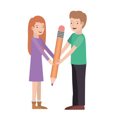 couple with pencil avatar character vector image