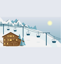 Cozy wooden chalet in the mountains vector