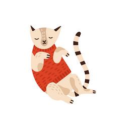 Cute cat in warm sweater flat vector