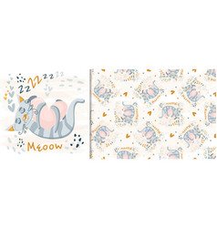 Cute cat sleeping seamless pattern print vector