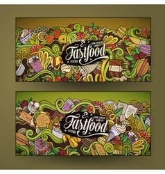 Doodles food banners design vector